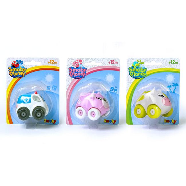 Trois packagings de jouets Smoby